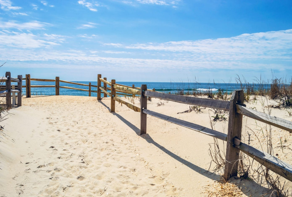 White sand leads to a beach in Surf City on Long Beach Island, New Jersey